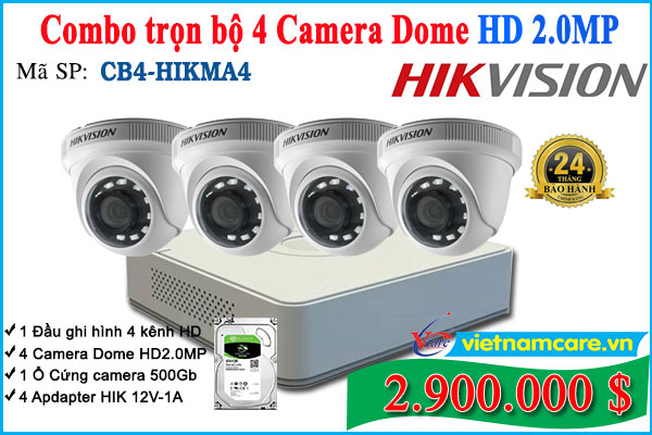 Combo Trọn bộ 4 Camera Dome Hikvision HD 2.0Mp