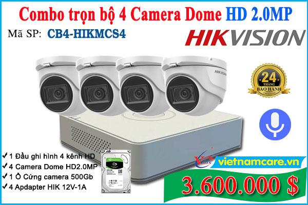 Combo Trọn bộ 4 Camera Dome Hikvision HD 2.0Mp - Tích hợp Mic